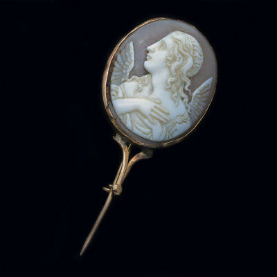 Antique Georgian Cameo Brooch Angel Gabriel 18k Gold Shell Halley's Comet (6349)