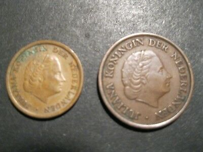 LOT of 2 Netherlands Coins - 1 cent - 1960 and 5 cent - 1951
