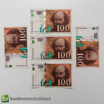 FRANCE: 5 x 100 French Franc Banknotes.