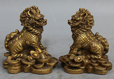 "4"" Chinese Bronze Money Wealth Yuan Bao Kylin Dragon Beast Chi-lin Statue Pair"