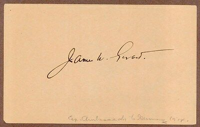 James W. Gerard, US Diplomat, Signed Album Page, COA, UACC RD 036