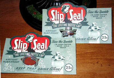 2-SLIP SEAL Brand Bottle Saver Caps~Never Used~On Org.Cards~Great Old Graphics