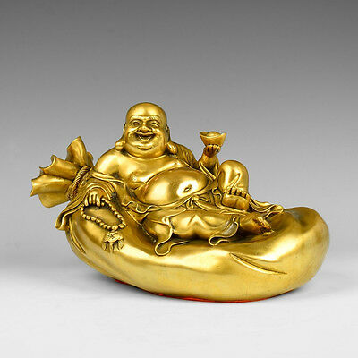 "13"" China Happy Laughing Buddha Maitreya Lying On Money Bag Bronze Statue"