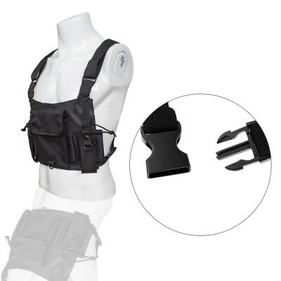 Tactical Chest Rig Belt Strap Two-Way Radio Clips Holster Vest Chest Pack Pouch