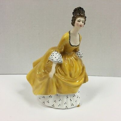 Vintage 1963 Royal Doulton Coralie Porcelain Figurine in Yellow Dress 7 1/4""