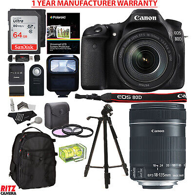 Canon EOS 80D DSLR Camera Kit EF-S 18-135mm USM 3 Lens + MANUFACTURER WARRANTY
