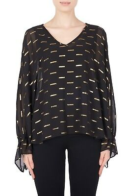 Joseph Ribkoff Black Gold Long Sleeve Chiffon Overlay V Neck Top 184604 NEW