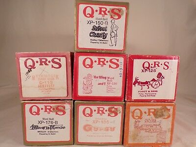 Lot of 7 Player Piano QRS XP Word Rolls Instrument Rolls