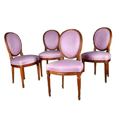 Set of Four (4) French Louis XVI Style Carved and Upholstered Side Chairs
