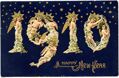 NEW YEAR GREETINGS VINTAGE POSTCARD, c1909~ANGELS SPELL OUT '1910'~CLOVER LEAFS