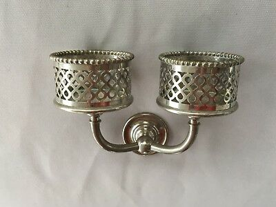 Antique Nickel Brass Beaded Double Cup Glass Holder Old Vtg Silvers Co. 159-18J