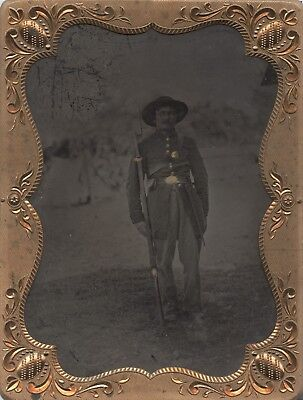 Armed Civil War Soldier Outdoor Tintype with a Tent in the Background