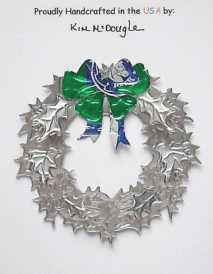 Wreath Christmas Ornament Handmade Recycled Aluminum Metal Rolling R Beer Can