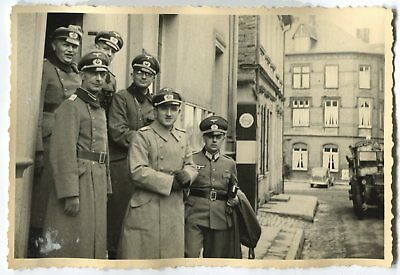 German Wwii Archive Photo: Group Of Wehrmacht Officers Posing On Camera