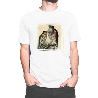 White Cotton T Shirt Mens / Womens Vintage Natural History Cuckoo Falcon Animal