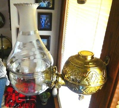 Antique Brass Wall Angle Lamp With All Original Glass