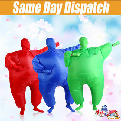 Air Suits Inflatable Fat Chub Suit Fancy Dress Party Costume in Red Green & Blue