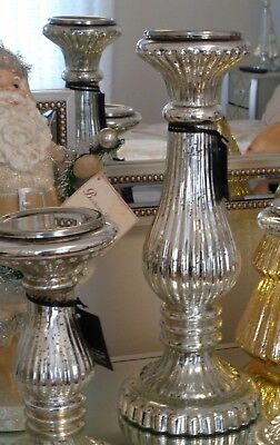 """15"""" Holiday Silver Antique Mercury Blown Glass Pillar Candle Holder New"""
