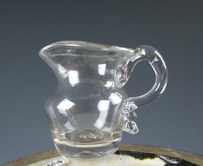 Antique American Miniature Free Blown Glass Pitcher 19th Century