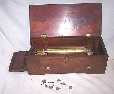 Early Old Key Wind Music Cylinder Music Box , Restoration Or Parts But It Runs