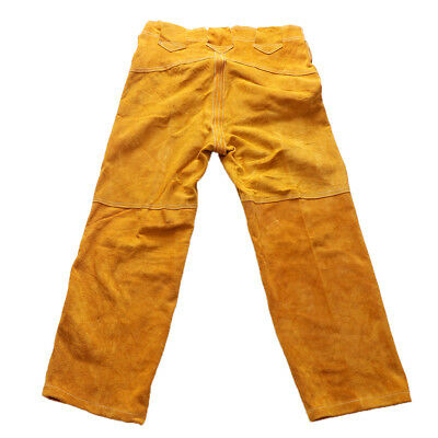 Flame-Resistant Welding Pants- Yellow with Yellow Flames, Size Medium