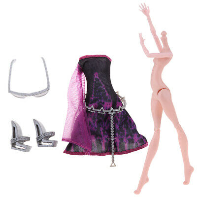 12inch Stylish Monster Girl Doll Nude Body & Party Dress for Monster High