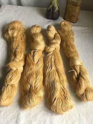Antique French Silk Skeins Pale Yellow 100s Yards Lace Making & Fine Embroidery