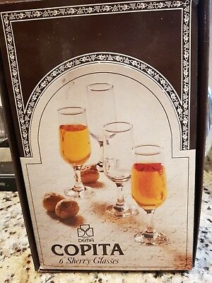 Vintage Set of Six Dema Copita Sherry Glasses Boxed