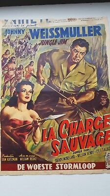 Jungle Fury Belgian Movie Poster Johnny Weismuller Sherry Moreland