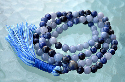 Protective 108 Handmade Lapis Lazuli n Aquamarine for Courage,Psychism, Intution