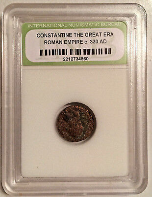 ANTIQUE ROMAN EMPIRE   SLABBED COIN. CONSTANTINE THE GREAT ERA c350 AD