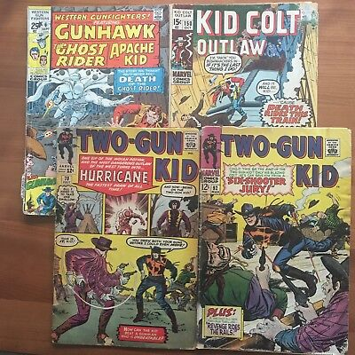 LOT of FOUR (4): MARVEL WESTERNS - Two Gun Kid, Kid Colt - reader copies