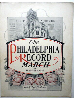 1906 Rare NEWSPAPER ADVERTISING sheet music PHILADELPHIA RECORD MARCH Two Step