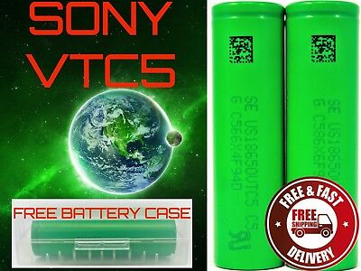 2X SONY VTC5 2600 mAh HIGH DRAIN 18650 AUTHENTIC + CASE FREE SAME DAY SHIPPING!