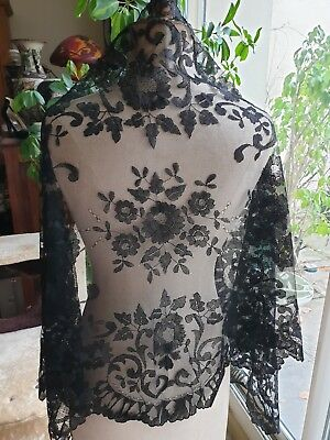"""Antique Victorian Handmade Black Lace Shawl 73"""" By 27"""" Floral Design"""