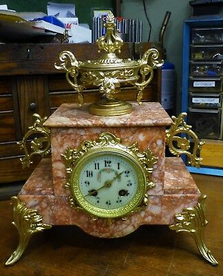 Antique French Marble Mantle Clock - Runs - Strikes - Fully Restored