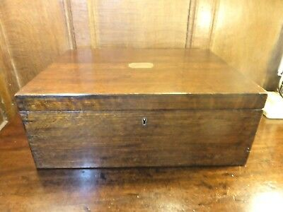 ANTIQUE Empty WOODEN CANTEEN/CUTLERY BOX 2 TRAYS - BRASS SIDE HANDLES - 17""