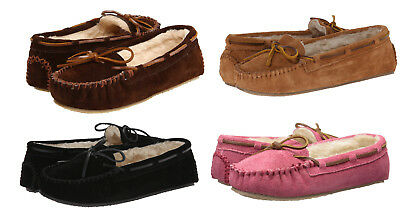 Minnetonka Cally Slippers Women's Suede Slip-On Home Mocassin Shoes Flats NEW