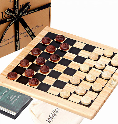"""Jaques of London Draughts Set - 12"""" Wooden Checkers Board Game with Pieces - and"""