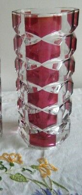 small  Vintage French J G Durand Ruby Red Glass Vase 17cm