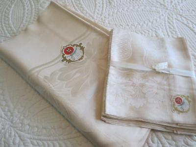 Vintage Irish Linen Damask Tablecloth and 8 Napkins New with Tag