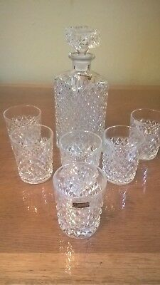Vintage Czech Lead Crystal Whiskey Set (Decanter & Tumbles)