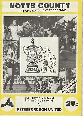 NOTTS COUNTY v PETERBOROUGH UNITED FA CUP 1980/81