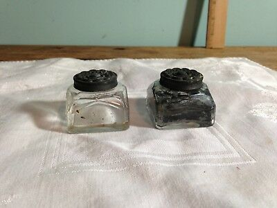 2 Antique Clear Glass Square Inkwells with Tin Flower Design Lids
