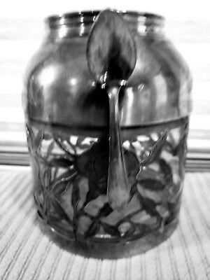 Vintage Sterling Silver Overlay Glass Nestle Tea Glass Canister w/Collar & Spoon