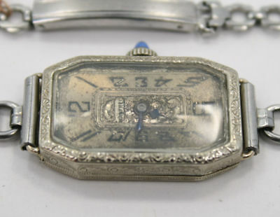 "VINTAGE / ANTIQUE ~ 14K White Gold ~ MANFRED 16 Jewel Mechanical Swiss 7"" Watch"
