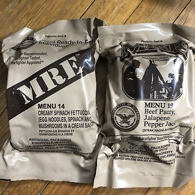 2 US MRE 2019 inspection #14 Creamy Spinach Fettuccine & #19 Beef Patty Meal