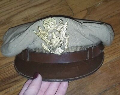 Original WW2 US Army Officer's Crusher Hat from Pilot's Estate
