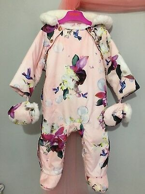 Baby Girls Designer Ted Baker Pink Floral SnowSuit Detachable Mitten 6-9m🎀