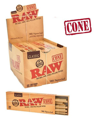 RAW Classic 98 Special Pre Rolled Cones - Box 12 PACKS - Roll 20 Cones Pack